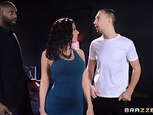 Rachel Starr enjoys some oily fun in front of her hubby