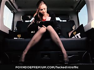 pounded IN TRAFFIC - Footjob and car lovemaking with Tina Kay