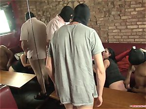 Michelle Thorne and young tramp gang-fuck drill with group