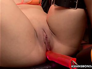 asian dicksucker got her massive cunt lubricated and toyed
