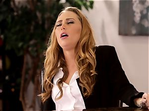 Under table slit licking with Carter Cruise