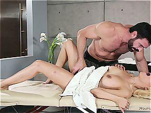 Married platinum-blonde ultra-cutie getting wild by a muscled massagist