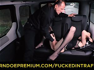 plumbed IN TRAFFIC Russian babe humped in the taxi car