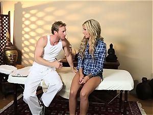 super hot platinum-blonde Madelyn Monroe wedged in her moist snatch