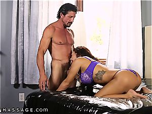 enormous breasted Keisha Grey knows how to handle two shafts at a time