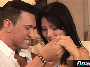 milky wife takes milky chisel in front of dark-hued spouse
