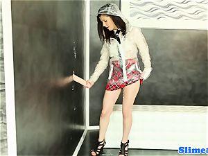 Bukakke schoolgirl wanking at gloryhole