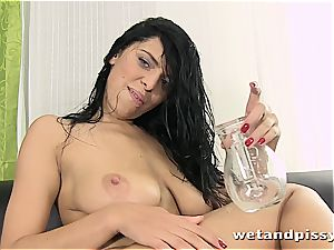 ultra-cutie Kira queen makes her stocking a mess with pee