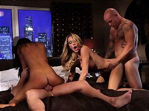 Asa Akira and Jessica Drake entertain two hefty schlongs