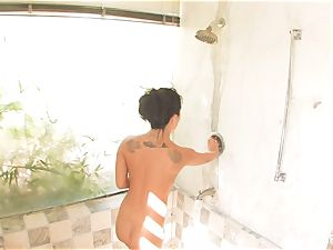 killer Asa showers and lotions her perfect figure