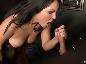 Adriana Luna gives a bj to a fuckpole in a slot