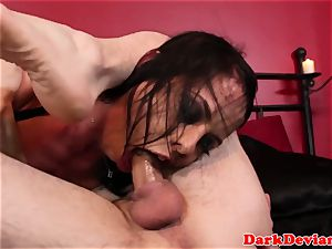 huge-chested deepthroater gets electro treatment