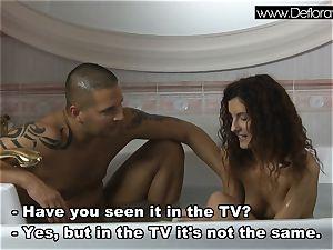magnificent brunette virgin Koromislo with Thomas Stone