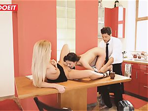 small nubile gets hardcore three way on Kitchen Table