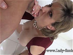 damsel Sonia Mature honey oiled Up And gargling dick