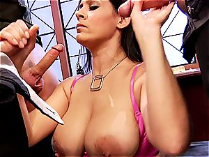 big-chested chief Raylene conforms three fucking partners in her office
