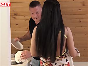 Step daddy helps daughter clean his jizm instead of room