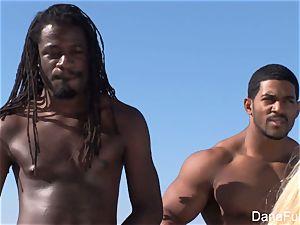 honeys Dana and Brooke have a hardcore interracial 4some