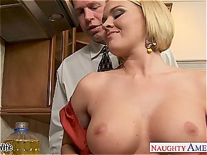 Krissy in the kitchen blow and drills until his schlong explodes
