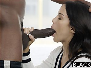 BLACKED Megan Rains first practice With meaty black pipe Part 1