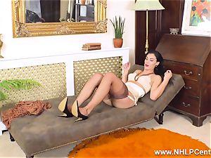 huge-boobed dark-haired strokes off in antique nylons garter stilettos