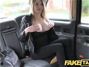 fake taxi footjob and fat cum-shot for ultra-cute shaven poon