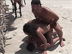 insane latin female gets two knobs on the beach