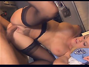 Pretty EMT pummeling in the back of an ambulance