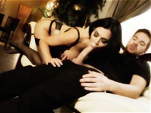 Nylons Sn two Jasmine Jae sucks cum from her pantyhose