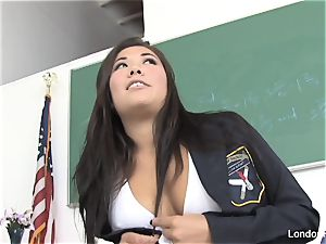 schoolgirl London gets pummeled on the teacher's desk