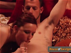 Swinger wives play around at pool as they foreplay before the soiree
