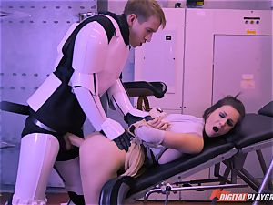 Stella Cox vagina bashed by a space agent