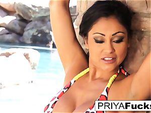 huge-boobed Priya Rai gets all raw outside by the pool