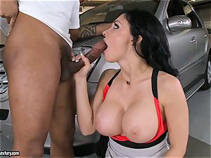 cool Aletta Ocean plays with a black trouser snake in her slippery molten gullet