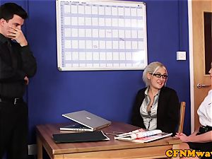 Dom CFNM honies sucking and tugging in office