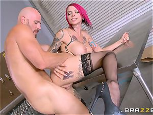 warm boss Anna Bell Peaks rides her workers bone
