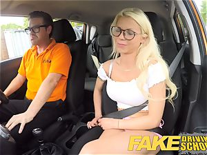 faux Driving college stunning buxom blondie honey creampied