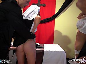 wild nuns Jessica Jaymes and Nikki Benz pleasuring gods desires